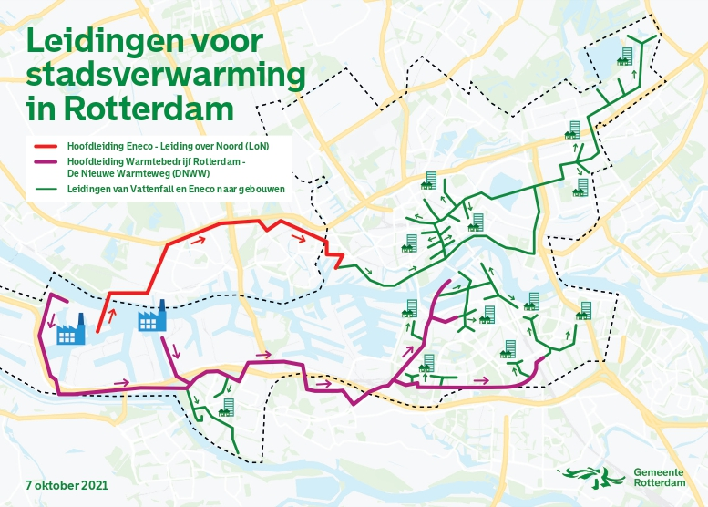 Leiding voor stadsverwarming in Rotterdam