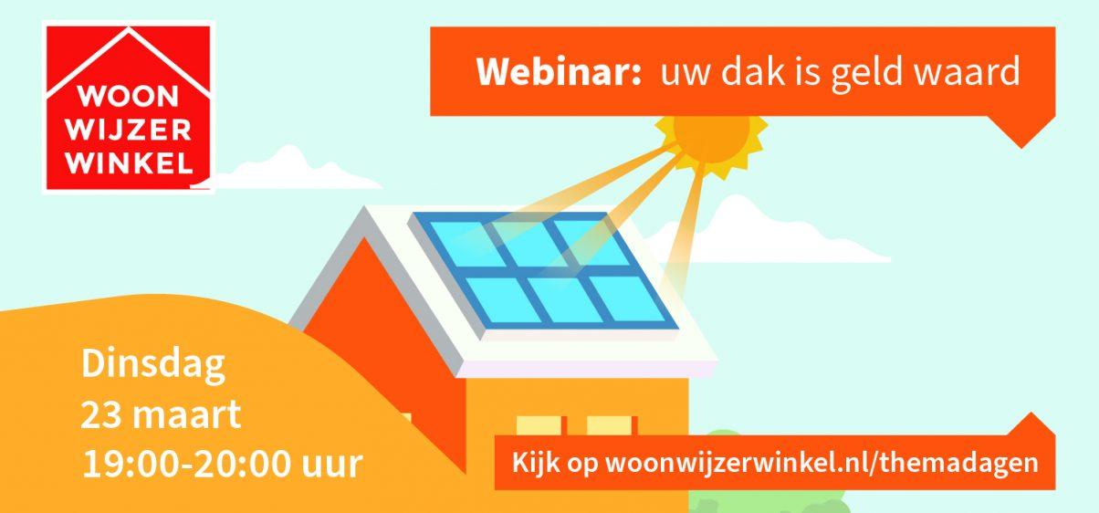 Met de stijgende temperaturen en opkomende bloemen lijkt de lente haar intrede te maken. Een mooi moment om uw dak in het zonnetje te zetten met bijvoorbeeld een groen dak. Dit is niet alleen goed voor de biodiversiteit, maar het verlengt ook de levensduur van uw dak en zorgt voor energiebesparing. En heeft u al eens aan zonnepanelen of een zonneboiler gedacht om uw energierekening te verlagen? Ontdek de mogelijkheden van een groen dak, zonnepanelen en een zonneboiler tijdens de webinar 'Uw dak is geld waard' van de WoonWijzerWinkel op dinsdag 23 maart van 19:00-20:00 uur.