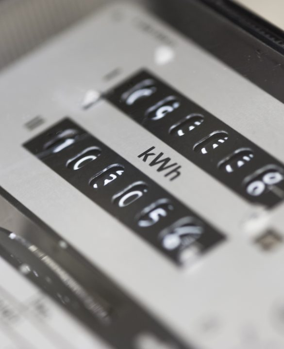 Zurich, Switzerland - October 27, 2013: Close-up of an electricity meter reader used in a private household/appartment (Swiss model, built 1979)